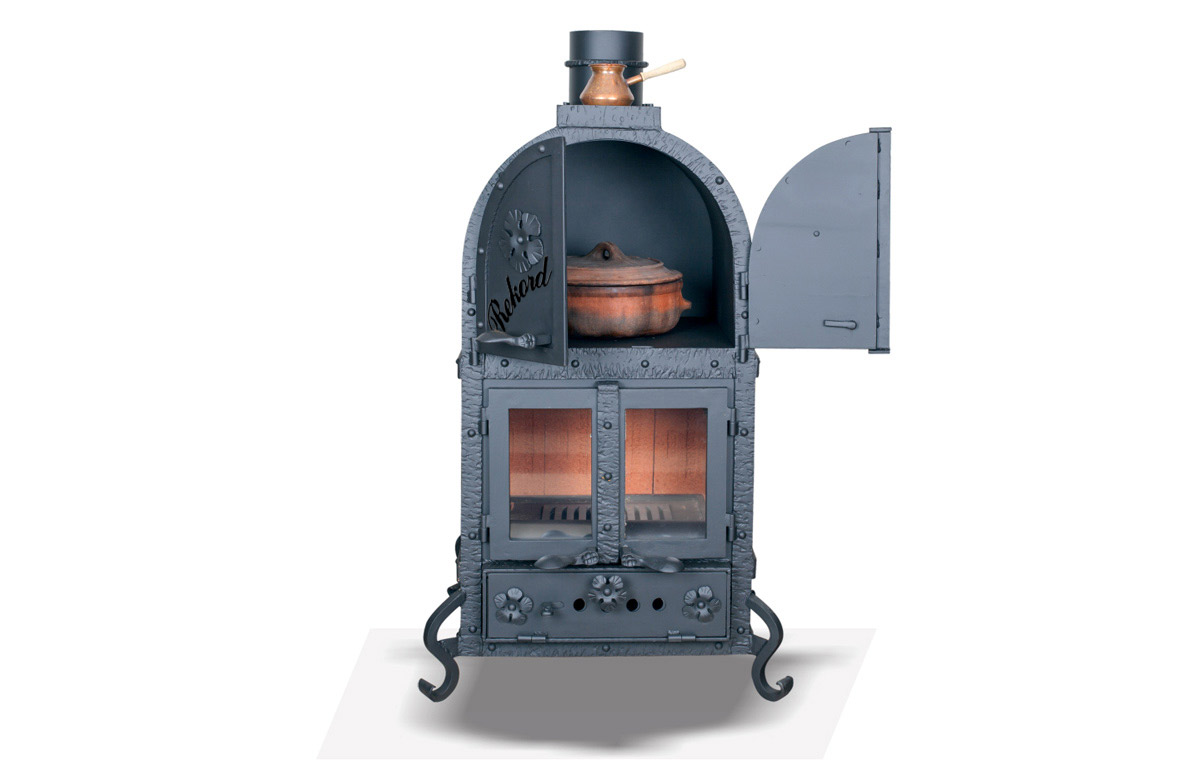Stove-fireplace for cooking, baking and heating